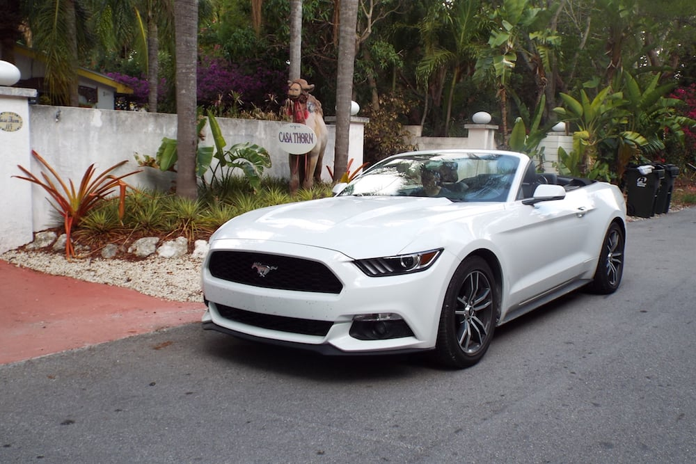 Our Ford Mustang outside the Casa Thorn guesthouse in Islamorada